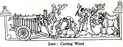 Anglo Saxon Work Calendar - June- Cutting Wood