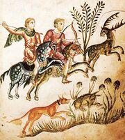 Kodex Medicina antiqua Jagdszene Fol 70 1250.jpg