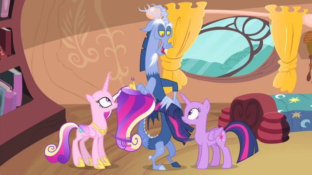 File:Discord pulling Twilight's and Cadance's manes S4E11.png