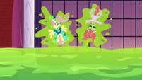 Fluttershy and Tree Hugger stuck to a wall S5E7