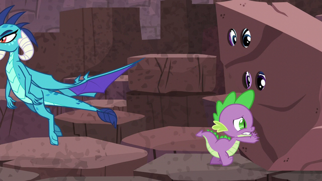 "File:Spike pushes ""rock""; Ember flies away S6E5.png"
