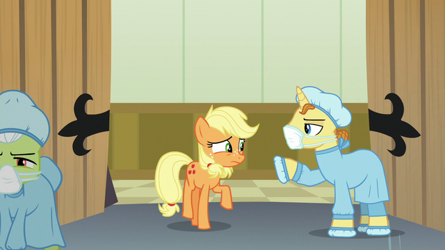 File:Masked Pony stops Applejack from entering theater S6E23.png