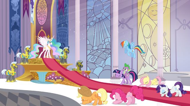 File:My Little Pony promotional image - the main six bowing to Celestia.jpg