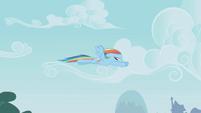 Rainbow Dash flying away S1E05