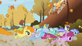 The racers pass Applejack and Rainbow Dash for the last time S1E13.png