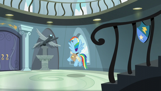 File:Rainbow stops in front of Wonderbolt statue S5E3.png
