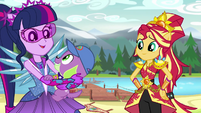 Spike jumps into Twilight Sparkle's arms EG4