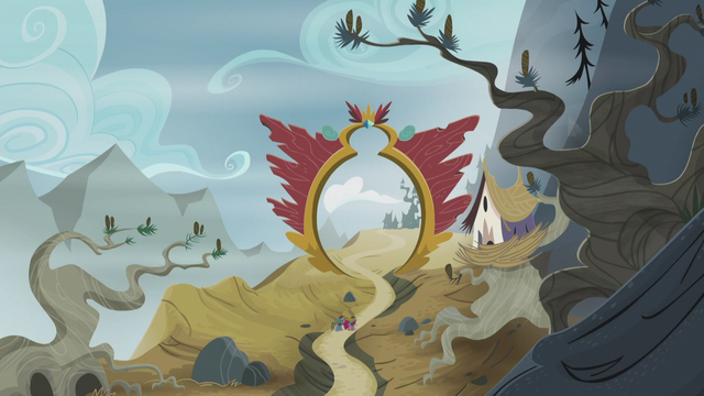 File:Rainbow and Pinkie approaches the entrance to Griffonstone S5E8.png