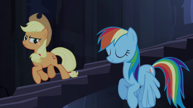 File:Applejack trots and Rainbow hovers down stairs S4E03.png