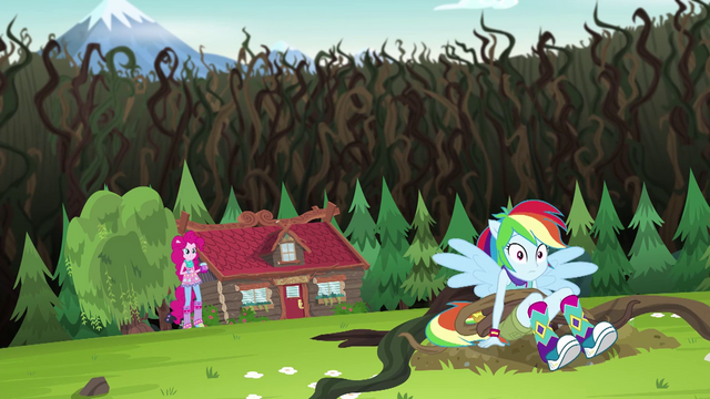 File:Pinkie Pie saves Rainbow Dash from the vines EG4.png