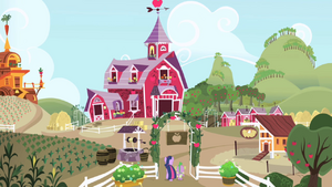 Twilight and Spike walking into Sweet Apple Acres S1E01.png