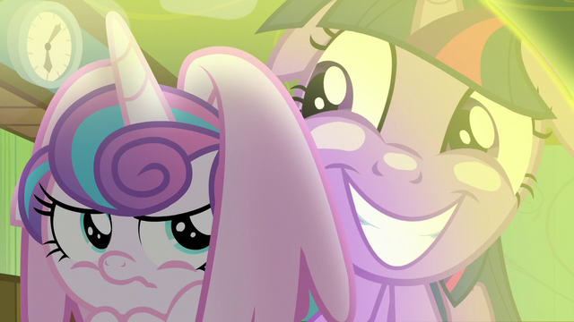 File:Twilight grinning outside Flurry Heart's shield S7E3.png