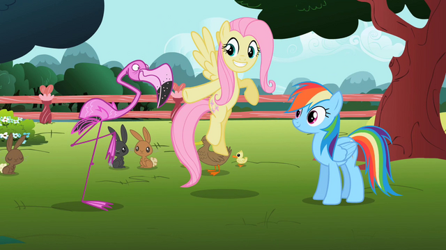 File:Fluttershy 'hot pink flamingo' S2E07.png