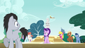 Ponies staring at embarrassed Starlight S6E6.png