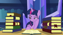 Twilight reading a book while annoyed S5E16