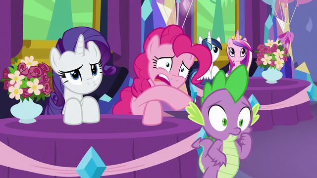File:Rarity, Pinkie, and Spike feeling awkward S7E1.png