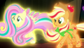 Fluttershy and Applejack in Rainbow Power forms S5E13.png