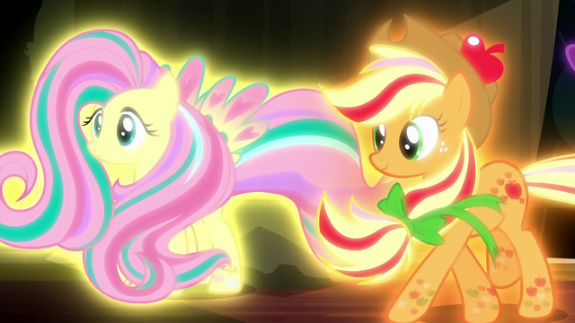 File:Fluttershy and Applejack in Rainbow Power forms S5E13.png