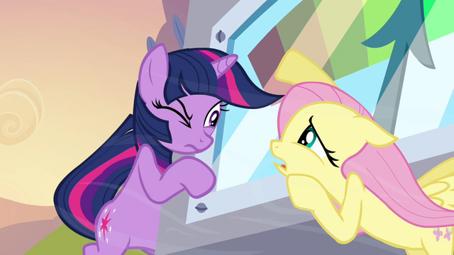 File:Fluttershy and Twilight talking while holding onto the machine S2E22.png
