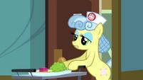 Nurse Snowheart wheeling cart of food S2E16