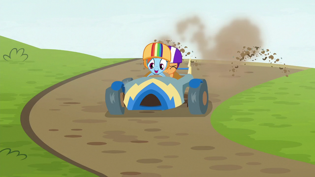 File:Rainbow's cart kicking up dirt S6E14.png