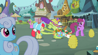Shoeshine, Daisy, and Berryshine look at Granny Smith and Apple Bloom S2E12
