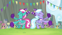 Cloudsdale cheerleaders cheering for Ponyville S4E10