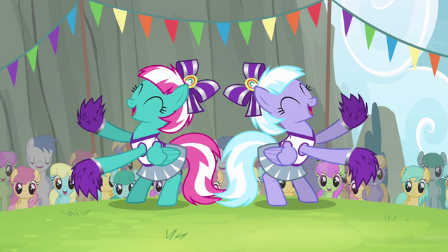 File:Cloudsdale cheerleaders cheering for Ponyville S4E10.png