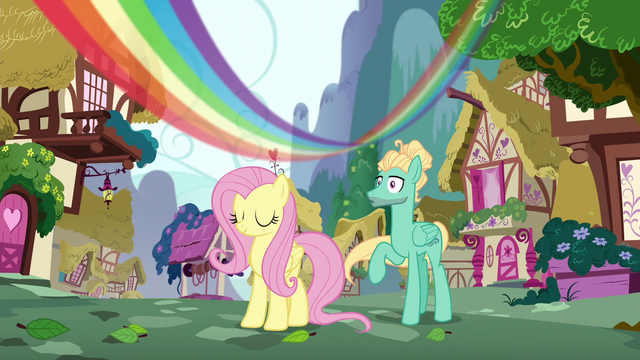 File:Rainbow streaks over Fluttershy and Zephyr S6E11.png