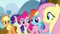Main five smile at Twilight Sparkle's song S7E14.png