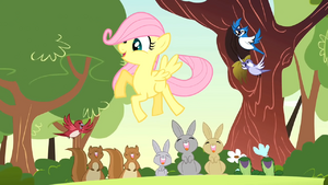 Filly Fluttershy with woodland creatures S1E23.png