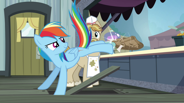 File:Rainbow kicking paper bags over the counter S4E22.png