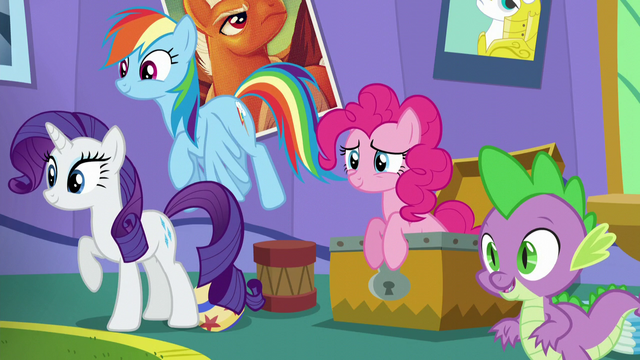 File:Rarity, Rainbow, Pinkie, and Spike together in one shot S5E19.png