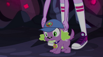 Twilight Sparkle sets Spike down on the ground EG4