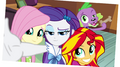 Fluttershy, Rarity, Sunset, and Spike photo EG2.png