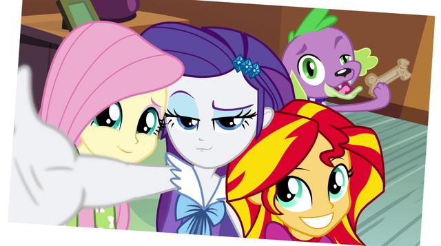 File:Fluttershy, Rarity, Sunset, and Spike photo EG2.png