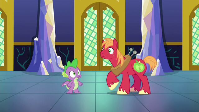 File:Spike and Big Mac hear fanfare S6E17.png