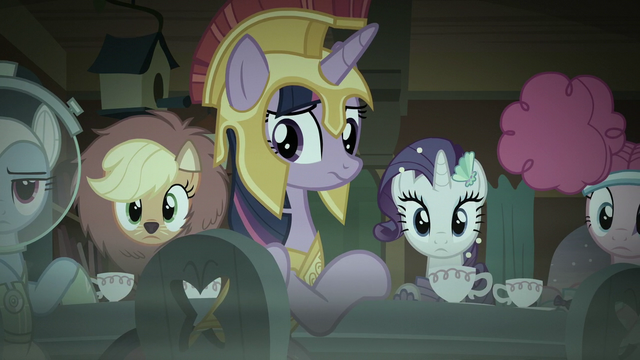 File:Main five looking at Fluttershy S5E21.png