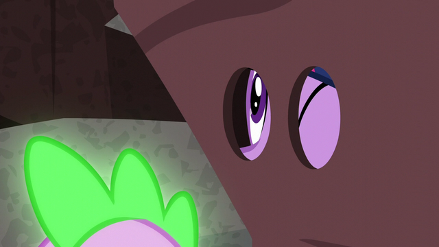 "File:Twilight looking through the eyehole on the ""rock"" S6E5.png"