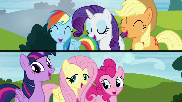 File:Two panels showing the Mane Six singing S5E26.png