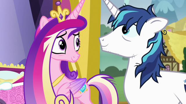 File:Cadance and Shining look relieved at each other S7E3.png