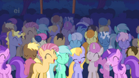 Every pony laughs at the Cutie Mark Crusaders' performance S1E18