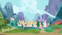 Ponyville as seen from Twilight and Spike's chariot S1E01.png