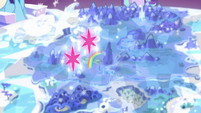Twilight's double cutie marks float over Twilight's castle S6E12