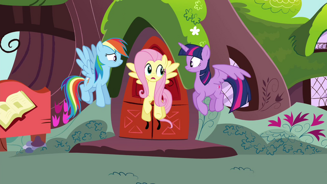 File:Rainbow, Fluttershy and Twilight fly down S4E21.png