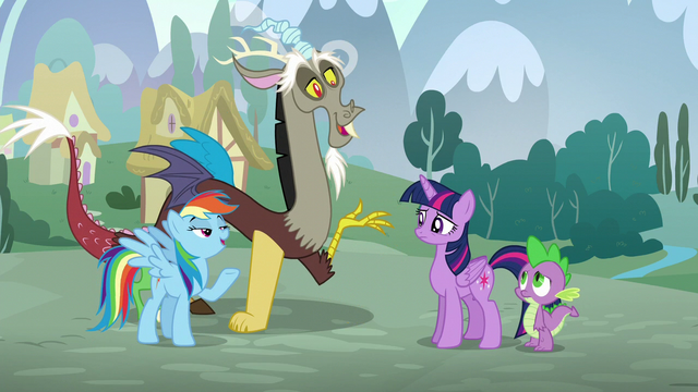 "File:Rainbow and Discord in unison ""What makes you think we practiced?"" S5E22.png"