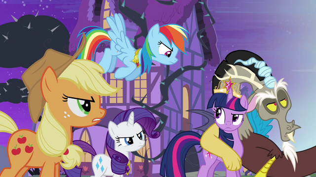 File:Twilight's friends don't believe Discord S4E01.png