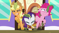 AJ, Rarity, and Pinkie struggling to exit the door S6E22.png