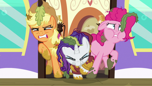File:AJ, Rarity, and Pinkie struggling to exit the door S6E22.png
