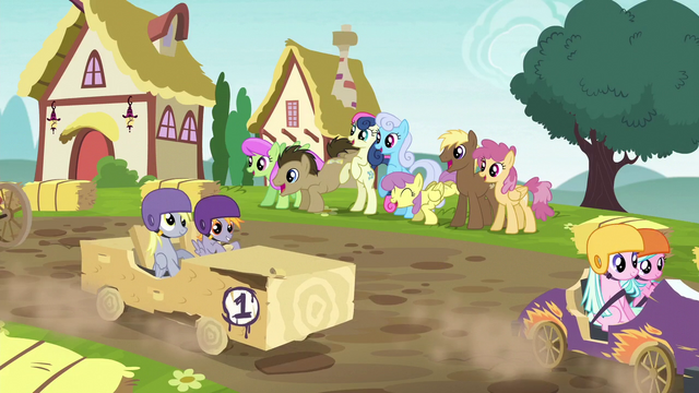 File:Ponies doing a wave for passing racers S6E14.png